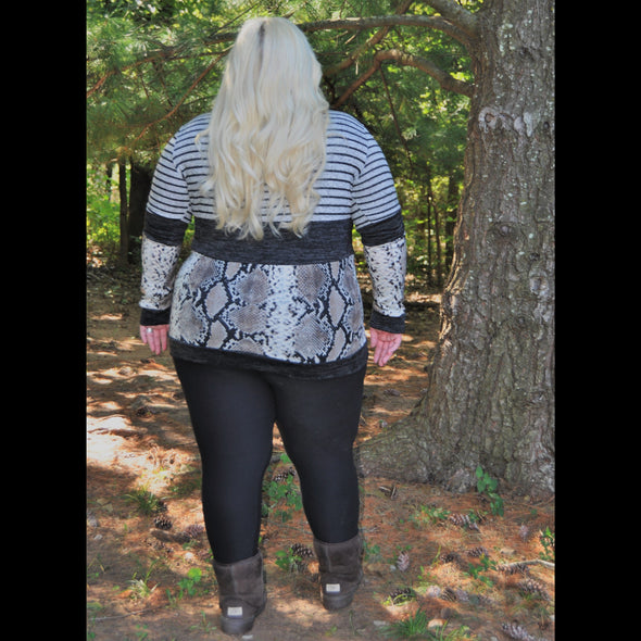 Working for the Weekend CURVY Striped Anaconda Print Top