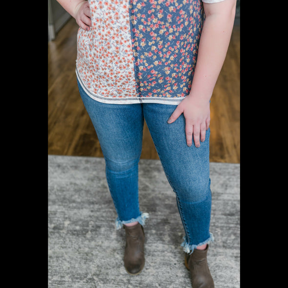 What's In A Name Floral Color Block Top