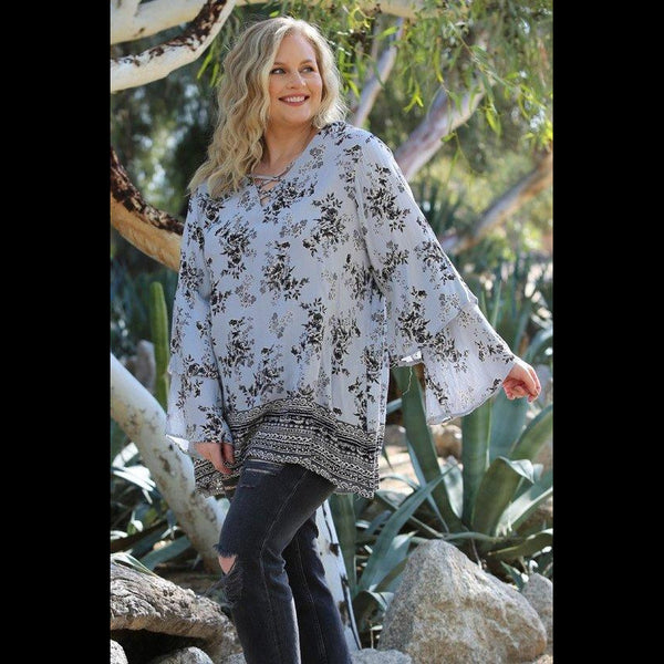 True Blue CURVY Tier Sleeve Tunic in Pale Blue