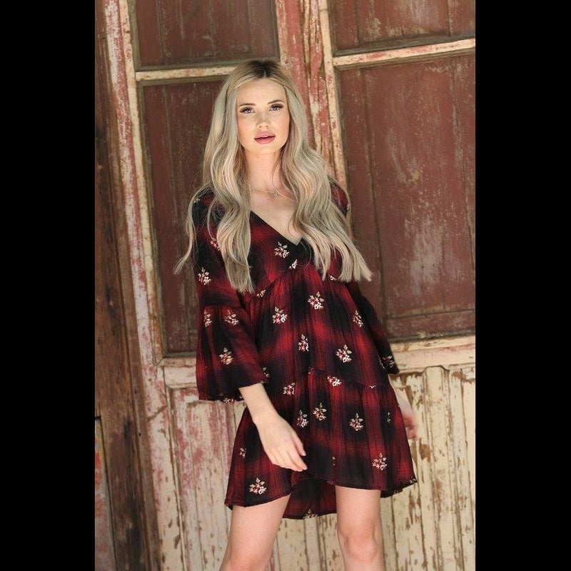 Rustic Road Plaid Embroidered Dress in Black/Crimson