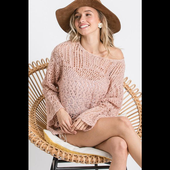 Dream Weaver Lightweight Open Weave Sweater in Mauve