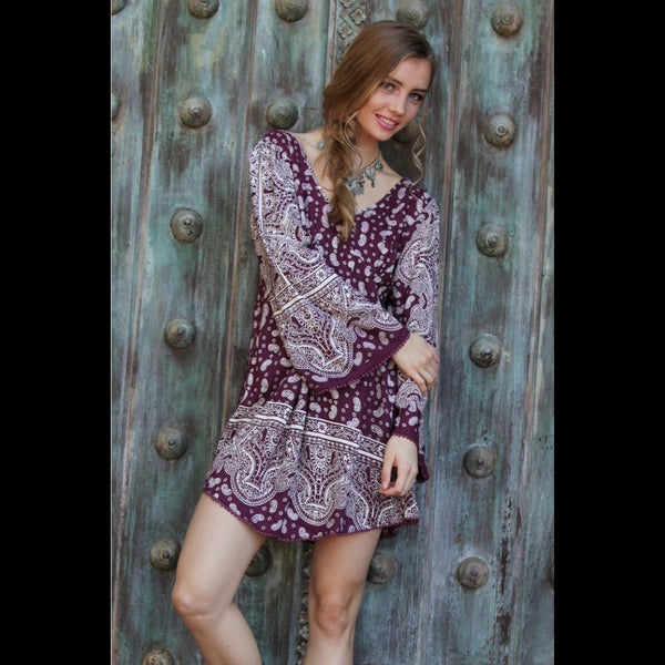 All Right Now Paisley Print Dress in Crimson