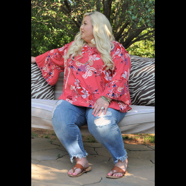 Go With The Flow CURVY Bell Sleeve Top in Watermelon