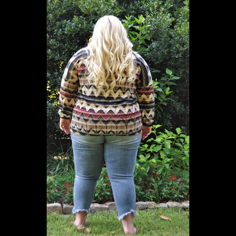 Grab A Coffee CURVY Striped Sweater in Brown