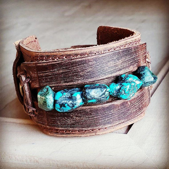 Distressed Leather Wide Cuff with African Turquoise Chunks