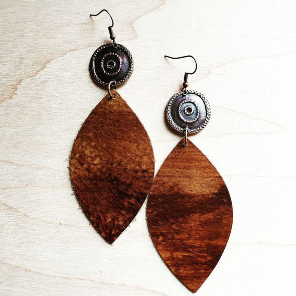 Leather Oval Earrings in Multi Colored Brown with Copper Accent