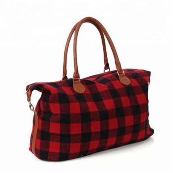Buffalo Plaid Weekender Bag in Red/Black