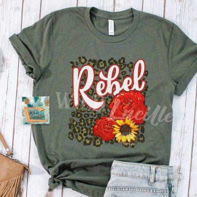 Rebel Rose - Military Green Graphic Print Tee