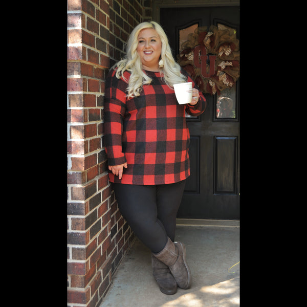 Light My Fire CURVY Buffalo Plaid Tunic in Black/Red
