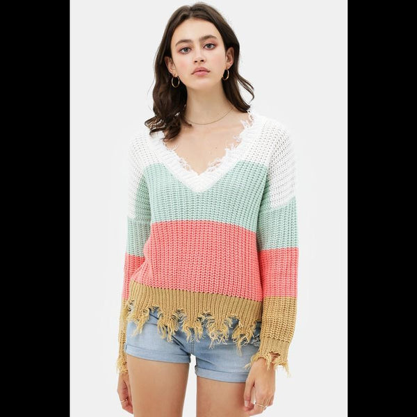 Catalina Calling Mint Frayed Edge Sweater