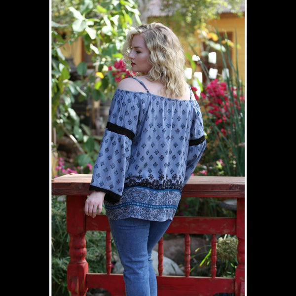 Blue Mountain CURVY Cold Shoulder Peasant Top in Blue