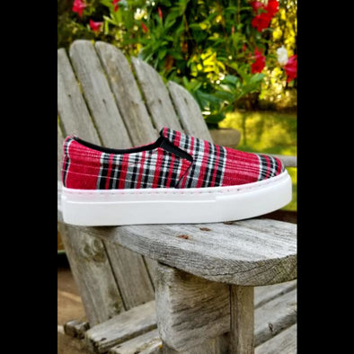 Pamela Platform Slip On Sneaker in Red Plaid