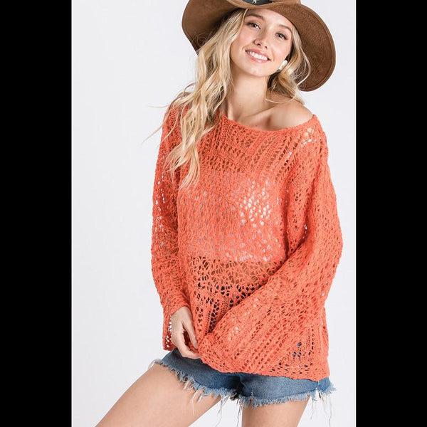 Dream Weaver Lightweight Open Weave Sweater in Tomato
