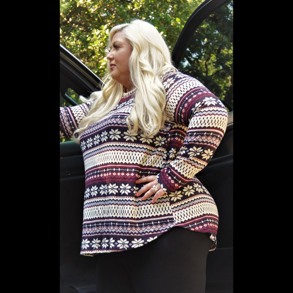 Scandinavia CURVY Print Top in Burgundy/Grey