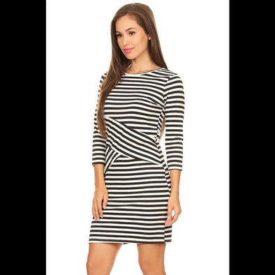 Cross My Heart Dress in Black/White Stripes