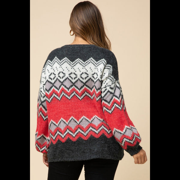 Copper Mountain Cozy CURVY Pullover Sweater in Red
