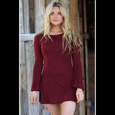 Cabernet by the Fire Rib Knit Bell Sleeve Dress in Wine