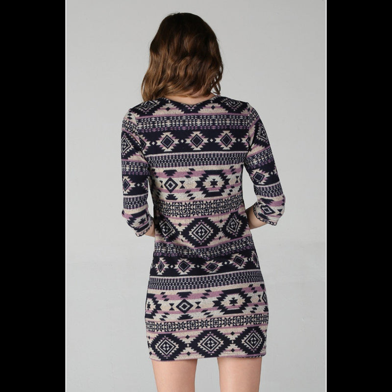 Native Ways Sweater Dress in Navy
