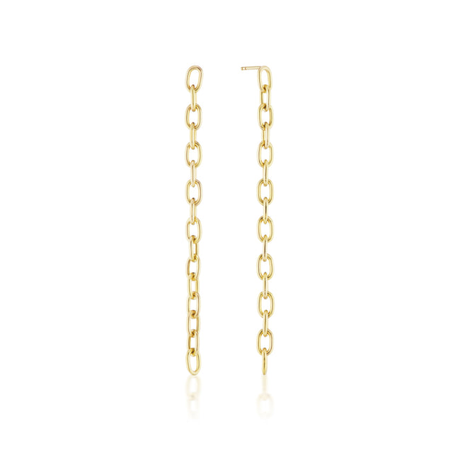 Elongated Chain Link Earrings Long