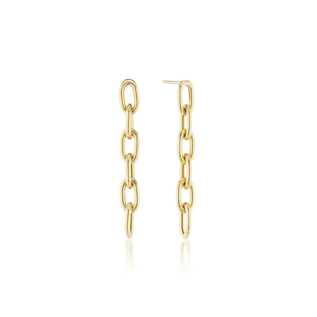 Elongated Thick Chain Link Earrings Short