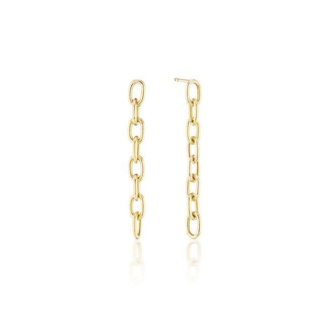 Elongated Thick Chain Link Earrings Long
