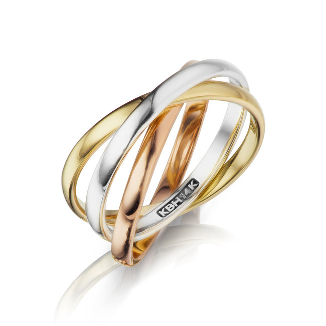 Tri - Color Trinity Ring