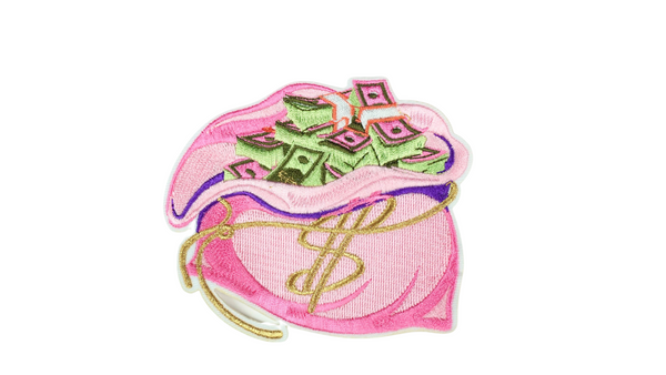 "4"" embroidered sew-on money bag patch in pink"