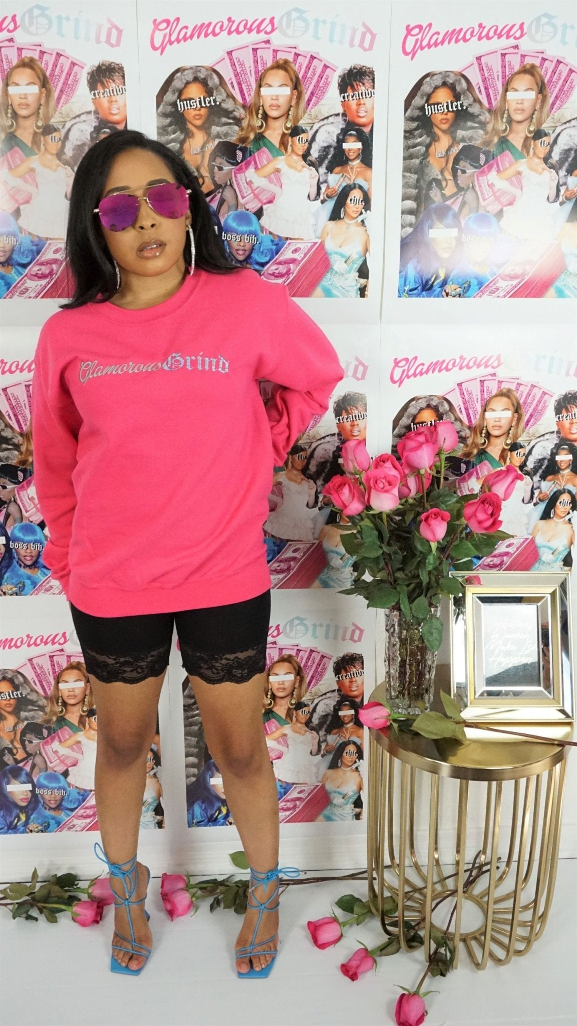 Glamorous Grind Crewneck Sweatshirt (Hot Pink) - Ambition Is The New Pink