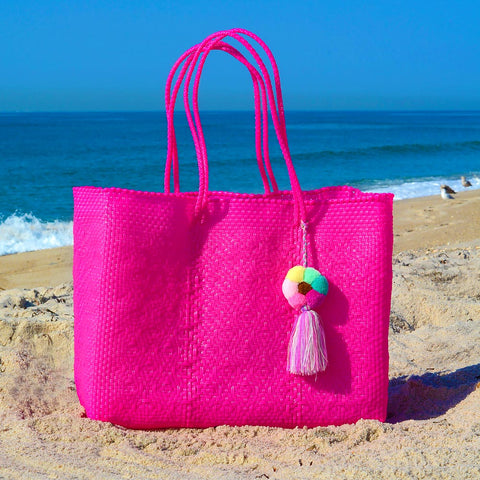 Oaxaca large tote bag on the beach pink with handmade pom pom
