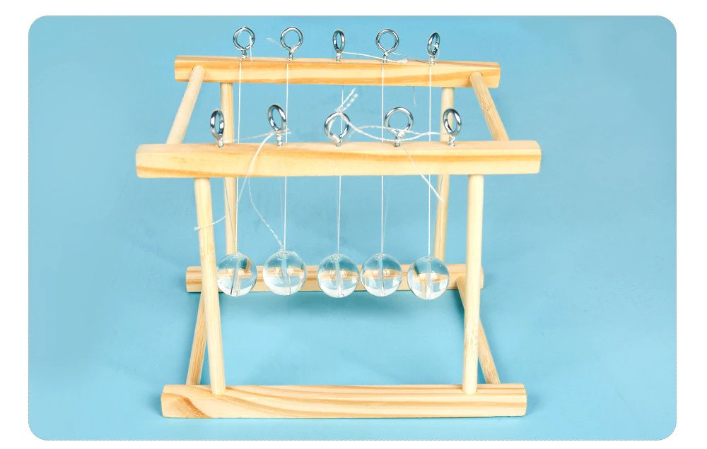 DIY Newton's Cradle, Five-ball Bump STEM Toy, Educational Project for Home and Classroom Learning