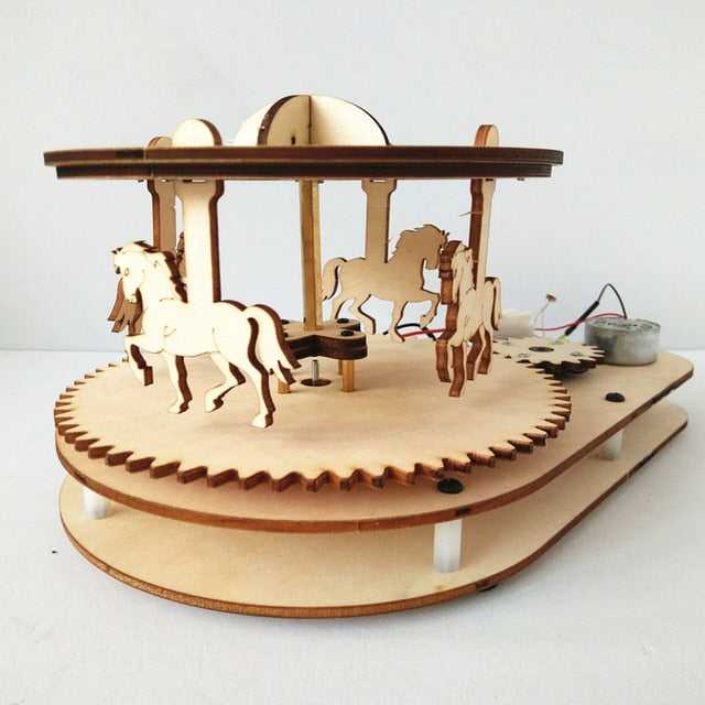 DIY Wooden Carousel Toy for Education, STEM Physics & Electronics Light or Voice Controlled Project