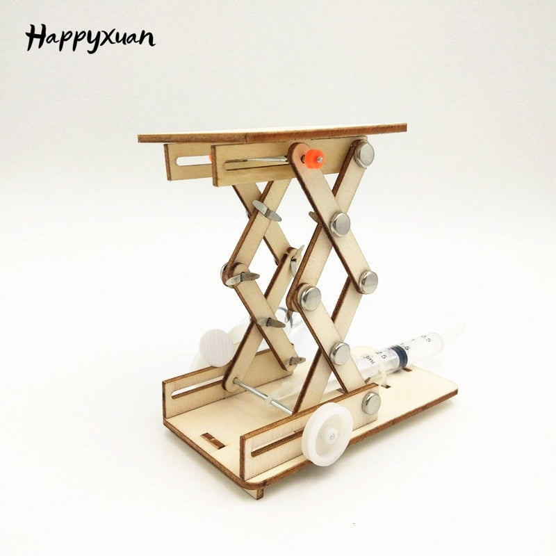 DIY Hydraulic Lift Table Model Toy for Kids, STEM Learning Toy with Physics Hydraulic Lift Mechanism