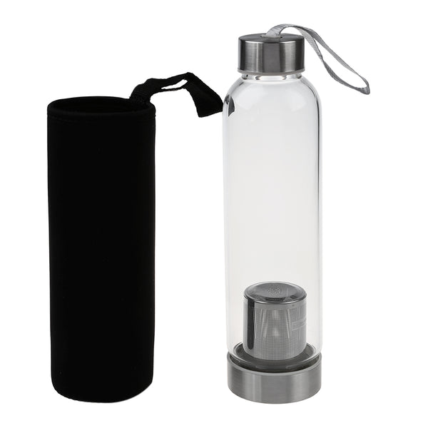 Glass Sports Water Bottle with Tea Filter Infuser & Protective Bag 550ml