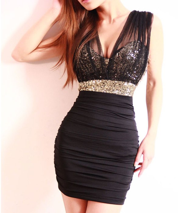 Sexy Party Dress (Mini Pencil Dress/Deep V Neck/Sequins/High Waist) - Order It All