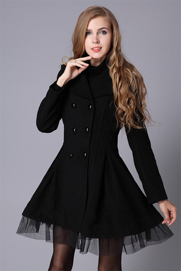 Women's Double-Breasted Wool Coat