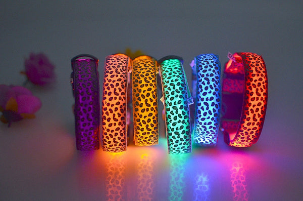 Cheetah Print LED Pet Dog Collar (Night Safety Flashing/Glowing) - Order It All