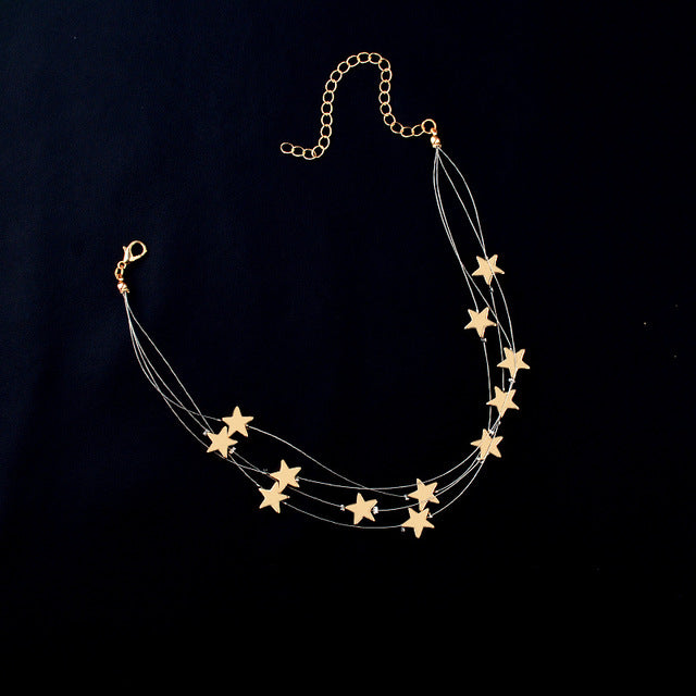 Multiple Layered/Adjustable Stars Pendant Choker - Order It All