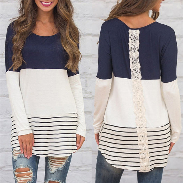 Women's Long Sleeve Stripped and Laced Back Tops and Blouses