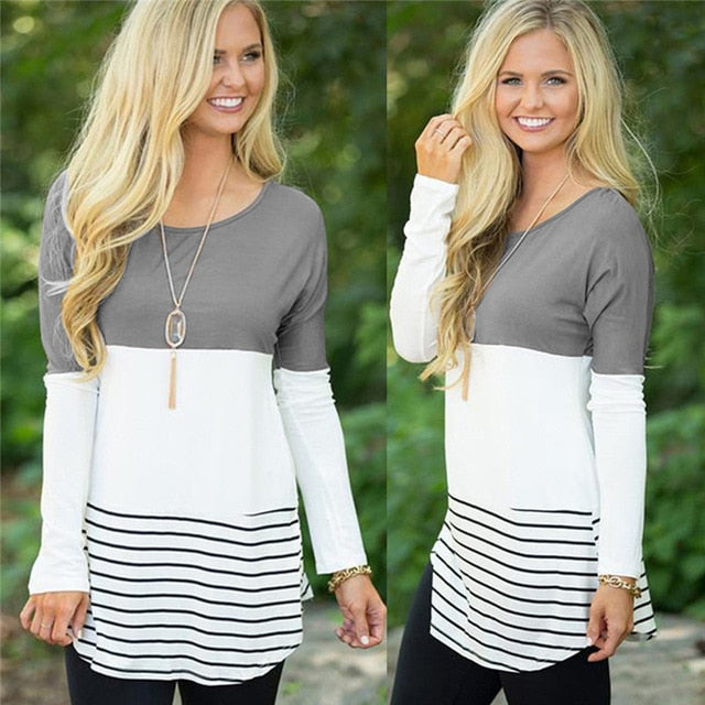 Women's Long Sleeve Stripped and Laced Back Tops and Blouses - Order It All