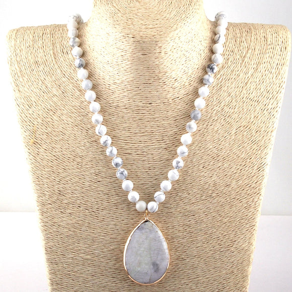 Matching Stone Drop Pendant Necklace