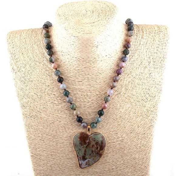 Multicolor Stone Heart Pendant Necklace
