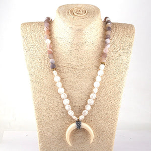Flat White Beaded Ox Horn Moon Necklace