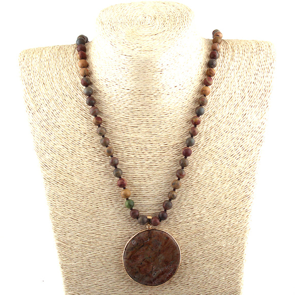 Round Stone Beaded Multicolor Stone Necklace