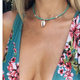 Chic green beaded Shell Pendent Choker Necklace