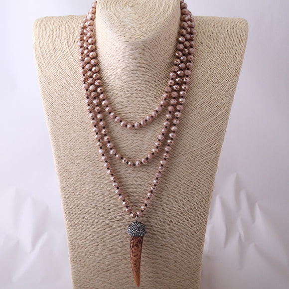 long Beaded Halsband Brown Crystal Ox Horn Pendant Necklace