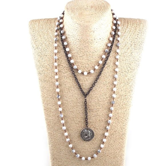 3 Layer Multiple White Stone Rosary Link & Chain Coin Pendant Necklace