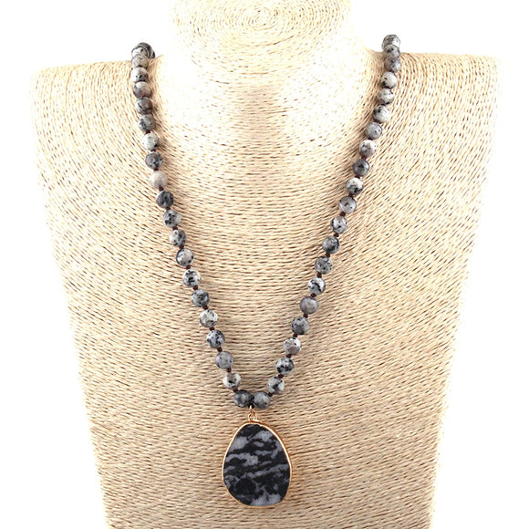 Stone Long Black Drop Pendant Necklace