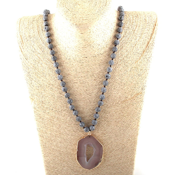 Lava Stones Long Knotted Gray Agat Pendant Necklace