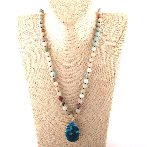 Drop Pendant Long Beaded Stone Necklace