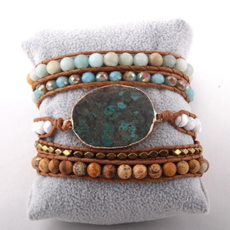Leather Crystal Stone Bracelet
